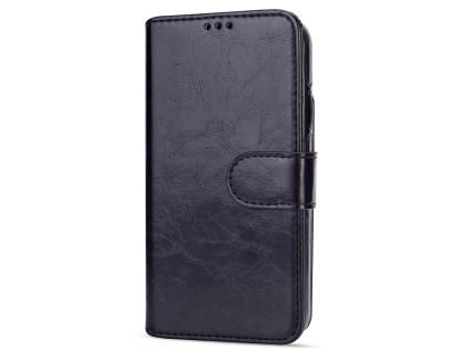 2-in-1 Synthetic Leather Wallet Case for iPhone XR - Black