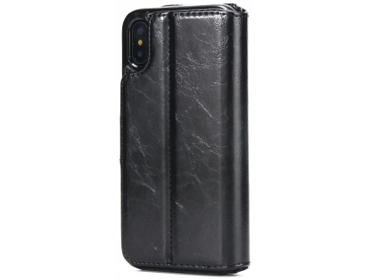 2-in-1 Synthetic Leather Wallet Case for iPhone Xs/X - Black Leather Wallet Case