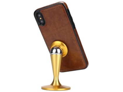 2-in-1 Synthetic Leather Wallet Case for iPhone Xs/X - Black