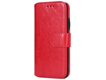 2-in-1 Synthetic Leather Wallet Case for iPhone Xs Max - Red