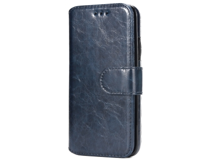 2-in-1 Synthetic Leather Wallet Case for iPhone Xs Max - Midnight Blue