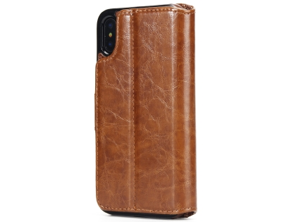 2-in-1 Synthetic Leather Wallet Case for iPhone Xs Max - Brown Leather Wallet Case