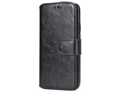 2-in-1 Synthetic Leather Wallet Case for iPhone Xs Max - Black