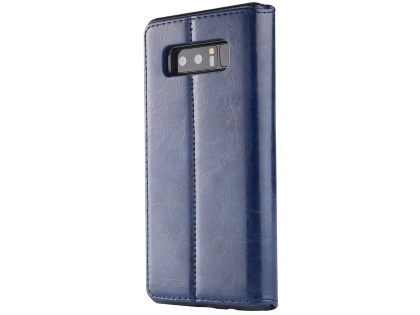 2-in-1 Synthetic Leather Wallet Case for Samsung Galaxy Note8 - Midnight Blue Leather Wallet Case