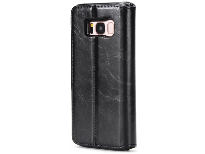 2-in-1 Synthetic Leather Wallet Case for Samsung Galaxy S8 - Black Leather Wallet Case