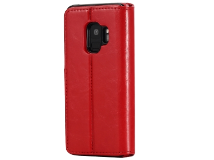 2-in-1 Synthetic Leather Wallet Case for Samsung Galaxy S9 - Red Leather Wallet Case