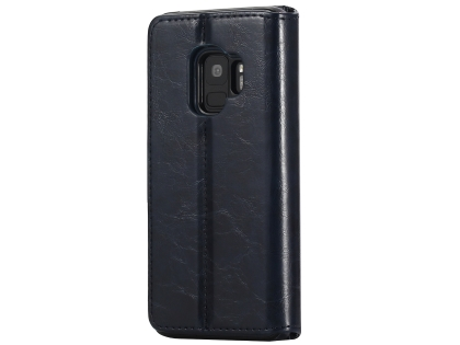2-in-1 Synthetic Leather Wallet Case for Samsung Galaxy S9 - Midnight Blue Leather Wallet Case