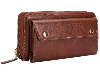 Wallet/Purse with Mobile Pouch - Brown Leather Slide-in Case