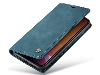 CaseMe Slim Synthetic Leather Wallet Case with Stand for iPhone 11 - Teal Leather Wallet Case