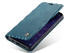 CaseMe Slim Synthetic Leather Wallet Case with Stand for Samsung Galaxy S9 - Teal Leather Wallet Case